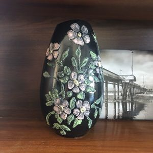 Black Glazed Ceramic Vase with Textured Flowers